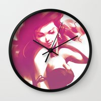 artgerm Wall Clocks featuring Pepper Dance by Artgerm™