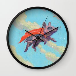 flying pig - by phil art guy Wall Clock