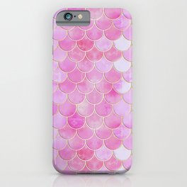 Pink Pearlescent Mermaid Scales Pattern iPhone Case