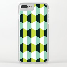 Geometric Pattern #51 (lime teal hexagons) Clear iPhone Case