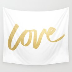 Love Gold White Type Wall Tapestry
