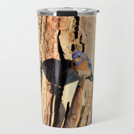 Western Blue Bird and His Shadow by Reay of Light Travel Mug