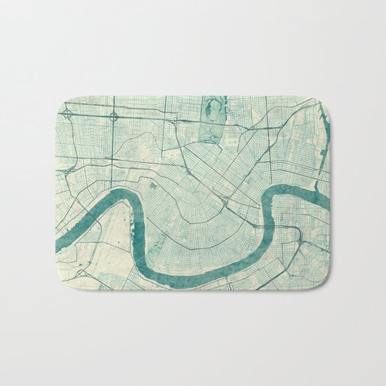 New Orleans Map Blue Vintage Bath Mat