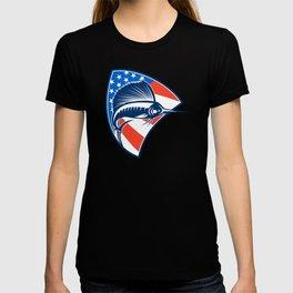 Sailfish Fish Jumping American Flag Shield Retro T-shirt