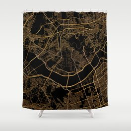Black and gold Seoul map Shower Curtain