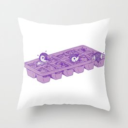 Penguins hatching from an ice cube tray Throw Pillow