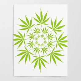 Cannabis Leaf Circle (White) Poster