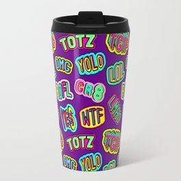 Colorful design with word patches. Travel Mug