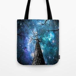 Wintry Trees Galaxy Skies Teal Blue Violet Tote Bag