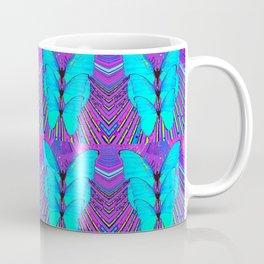 MODERN ART NEON BLUE BUTTERFLIES SURREAL PATTERNS Kaffeebecher