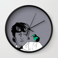 john green Wall Clocks featuring John by Cyrille Savelieff
