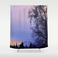 milan Shower Curtains featuring Chugach Mts Serenity Sunrise - I   by Alaskan Momma Bear