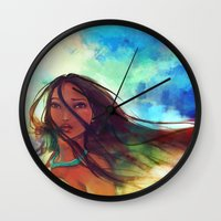watercolor Wall Clocks featuring The Wind... by Alice X. Zhang