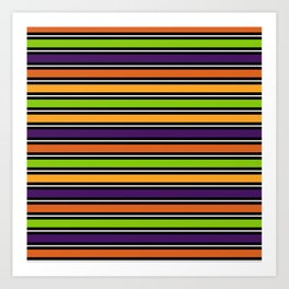 Modern colorful halloween October 31 abstract stripes Art Print