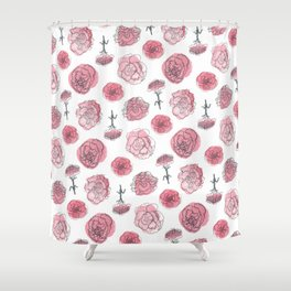 Pink Carnation Pattern Shower Curtain