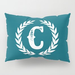 Dark Teal Monogram: Letter C Pillow Sham