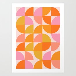 Mid Century Mod Geometry in Pink and Orange Art Print