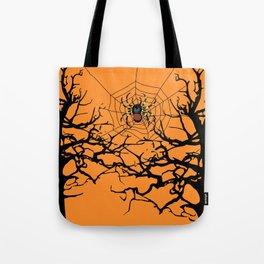 Halloween trees and spiderweb between - orange background Tote Bag