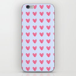 Pink hearts on blue iPhone Skin