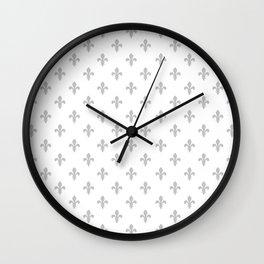 Fleur-de-Lis (Gray & White Pattern) Wall Clock