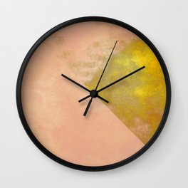 pink peach coral abstract minimal geometric pattern with gold texture Wall Clock