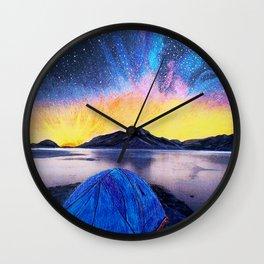 'SHOWTIME!' Original Art Drawing-MilkyWay Galaxy - Tent Camping Art Wall Clock