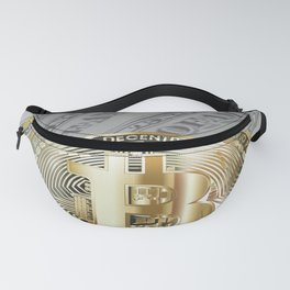 Bitcoin with dollar bills, cryptocurrency concept Fanny Pack