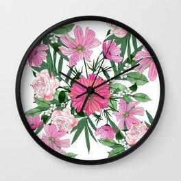 Boho chic garden floral design Wall Clock