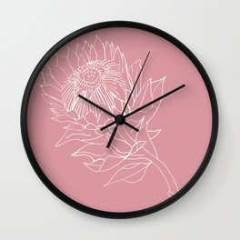 King Protea Outline - Pink and white Wall Clock