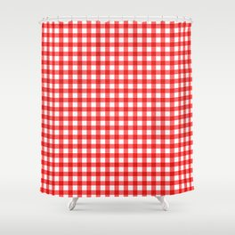 Gingham Print - Red Shower Curtain