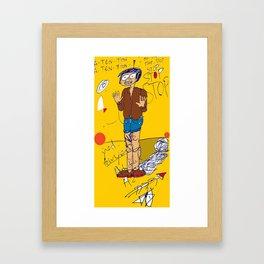 PANIC - yellow Framed Art Print
