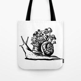 Mushroom Snail Linocut Tote Bag
