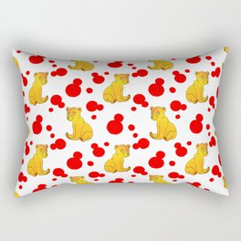 Cute little brown baby bear cubs, bold red retro dots white nursery pattern design. Baby bears. Rectangular Pillow