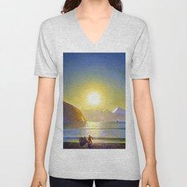 Resurrection Bay, Alaska, Midnight Sun Mountain landscape by Rockwell Kent Unisex V-Neck