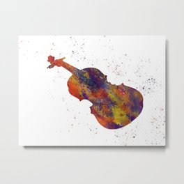 Fiddle in watercolor Metal Print