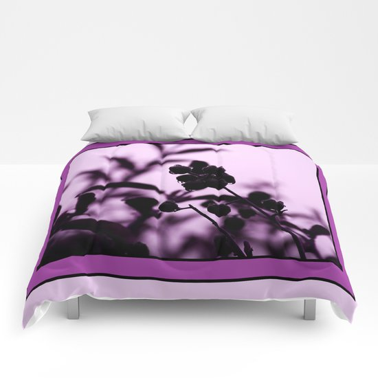 raindrops and hedge berries (purple) Comforters
