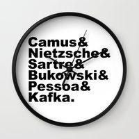 camus Wall Clocks featuring Camus& Nietzsche& Sartre& Bukowski& Pessoa& Kafka. by Andrew Gony