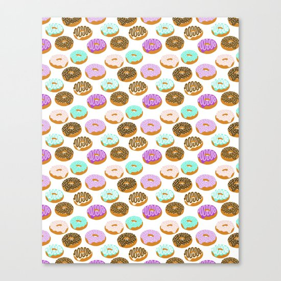 Donuts - junk food treat funny illustration with happy food face doughnuts pastry bakery Canvas Print