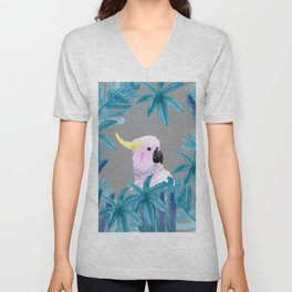 Tropical Cockatoo with Ultimate Gray Background Unisex V-Neck