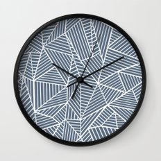 Ab Lines Navy and White Wall Clock