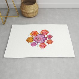 Discus Fish Colony Illustration Rug