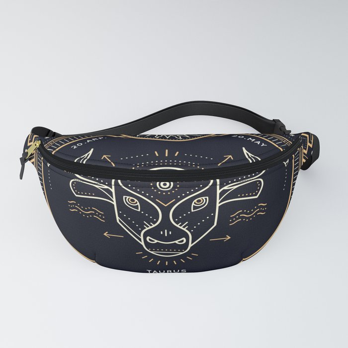 Taurus Zodiac Gold White Black Background Fanny Pack