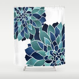 Festive, Floral Prints, Navy Blue and Teal on White Shower Curtain