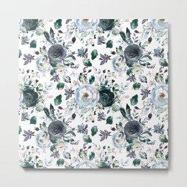 Botanical navy blue gray green watercolor peonies motif Metal Print