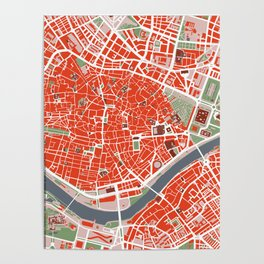 Seville city map classic Poster