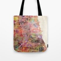 chicago map Tote Bags featuring Chicago map by Map Map Maps
