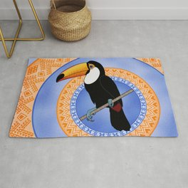Toco Toucan on Decorative Rings Rug