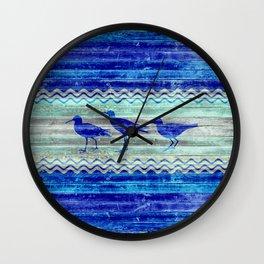 Rustic Navy Blue Coastal Decor Sandpipers Wall Clock