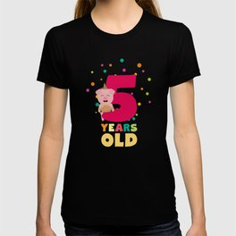 Five Years old fifth Birthday Party T-Shirt De6bl T-shirt