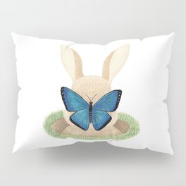 Butterfly resting on a bunny's nose Pillow Sham